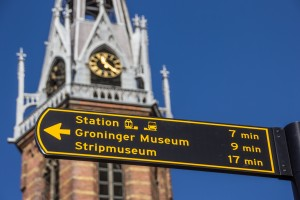 Tourist sign near the Jozef cathedral in Groningen, Netherlands